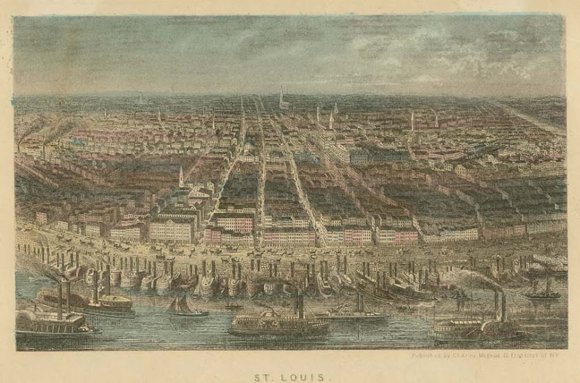 St. Louis, 1853. Hand colored wood engraving by Charles Magnus, 1853 Missouri History Museum Archives. St. Louis Views n14063