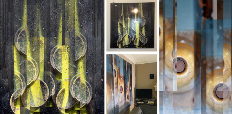 Side by shots of two XL works by Nicole, face mounted to acrylic and hanging on her studio walls.