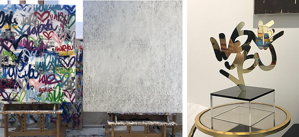 """LEFT: Two of our favorite pieces from Amber's studio collection, showing her ability to work with both bright and muted color palettes; RIGHT: An experimental tabletop sculpture spelling """"I Love You"""" in shiny gold acrylic."""