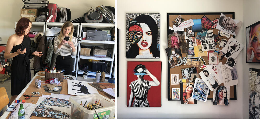 Annie, left, walks us through a work in progress that will eventually be several feet in size, spanning several panels; RIGHT: An inspiration board hangs alongside Annie's artwork, where she pins ads and paper clippings.