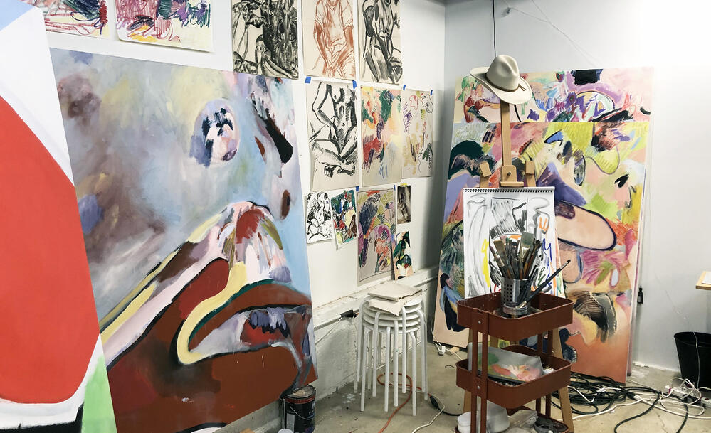 The lines of work/live space are blurred in Sabrina's studio, which also moonlights as a music venue. This workstation is directly parallel of the artist's bed.