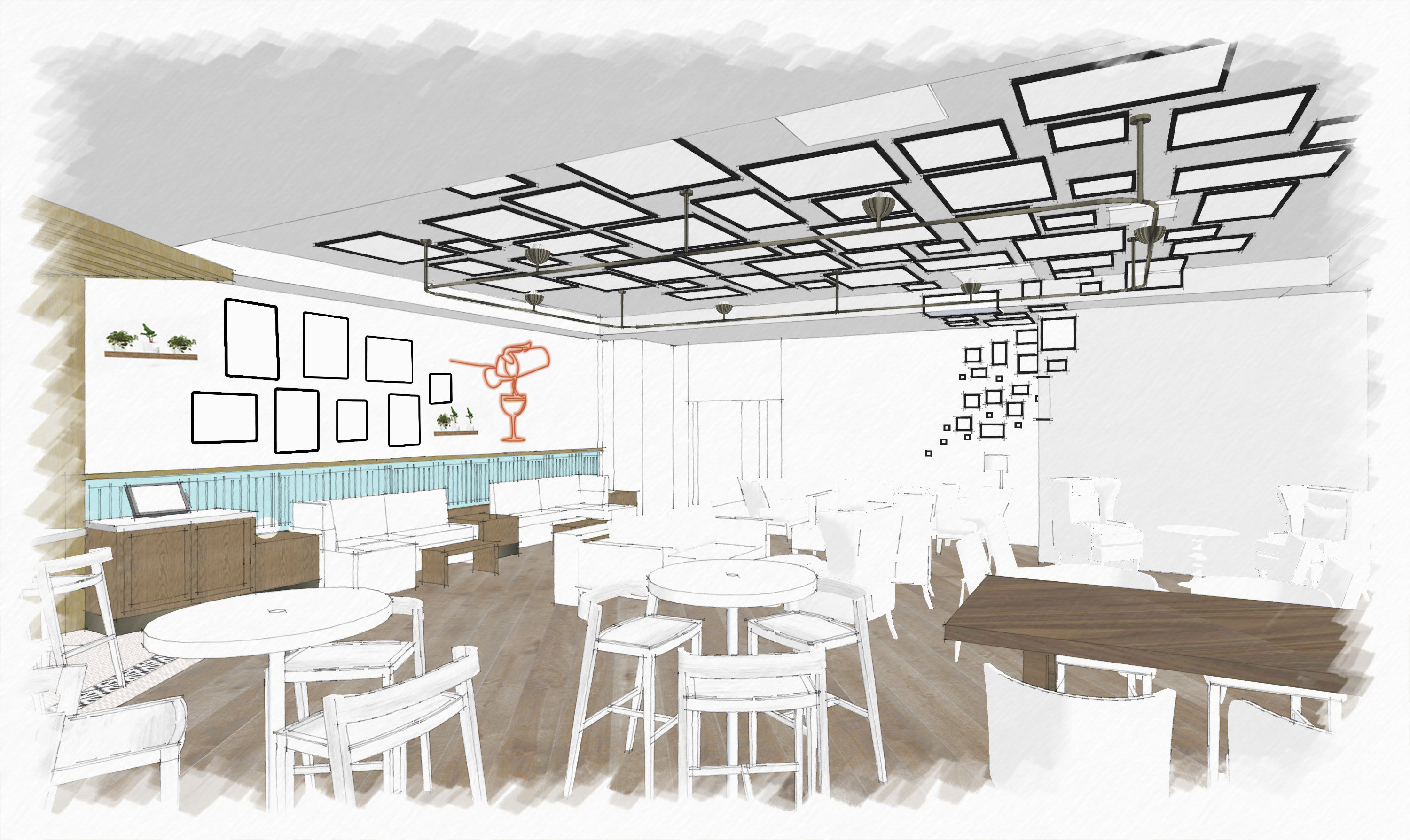 A design rendering of The Commentary's lounge from July 2019, featuring two large salon-style walls. This was an early image provided to our team pre-curation. Provided by EDG Interior Architecture + Design.